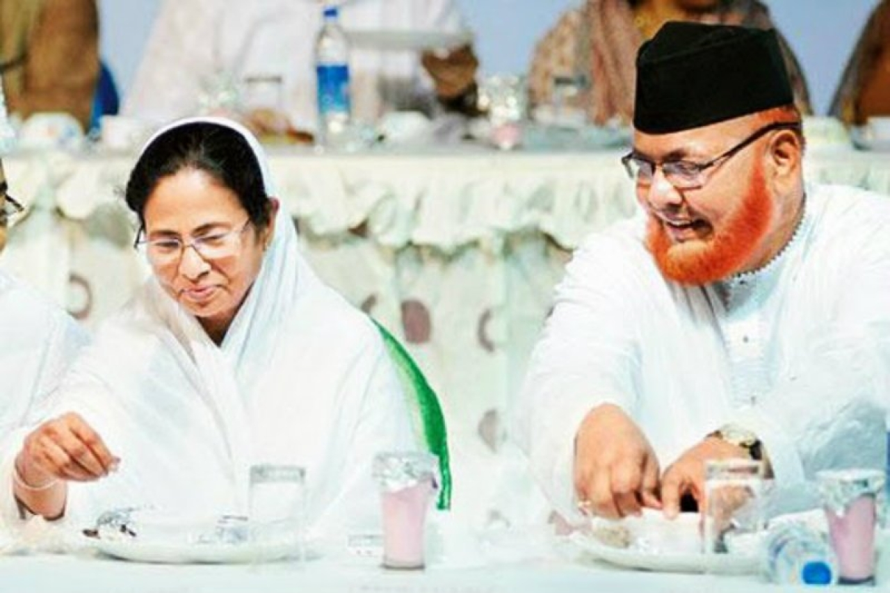 West Bengal Chief Minister Mamata Banerjee, left, with Imam Barkati. (PTI)