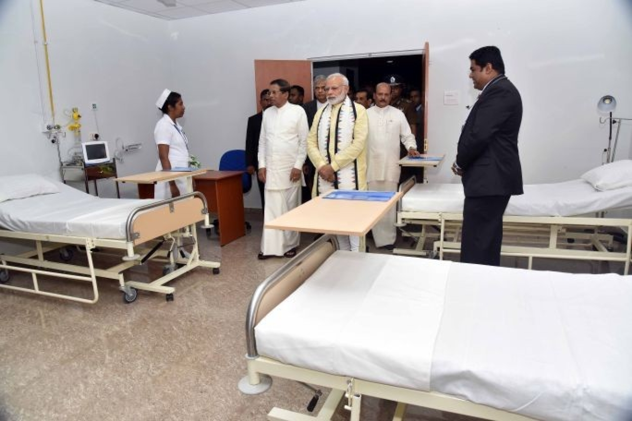 Prime Minister Narendra Modi at the inauguration of a new hospital complex in Sri Lanka