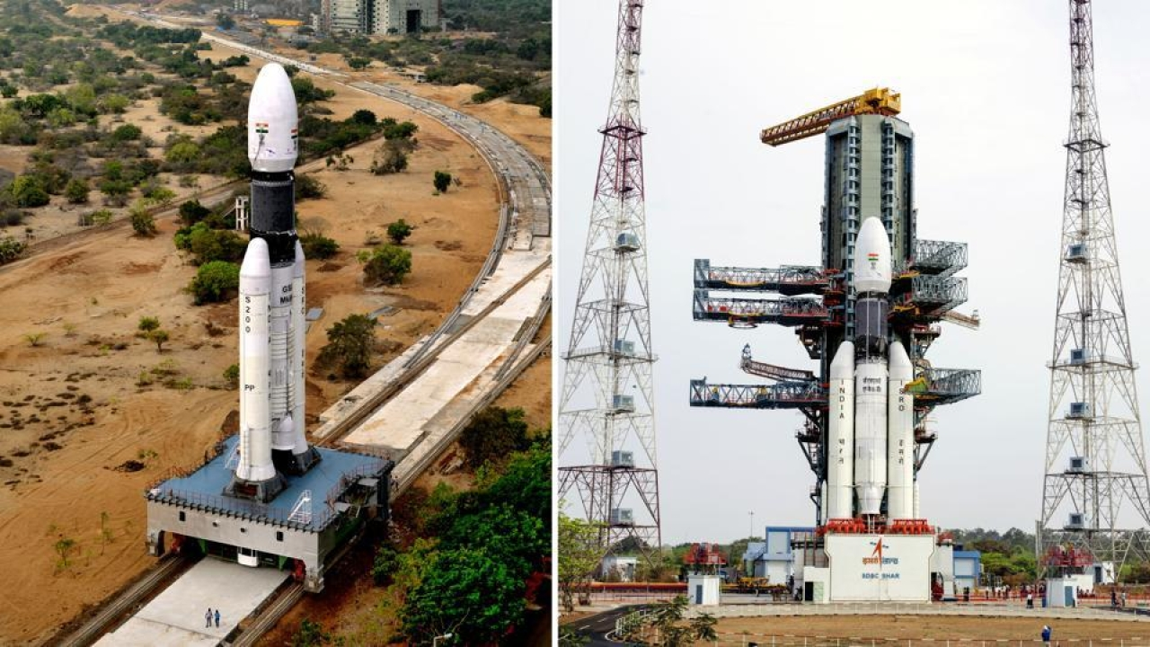 A side view of the fully integrated GSLV-Mark III. (ISRO)