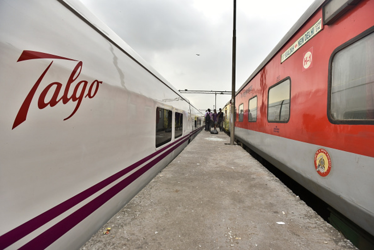 A high-speed Talgo Train stands on a platform next to a Rajdhani Express in New Delhi, India. (Raj K Raj/Hindustan Times via Getty Images)