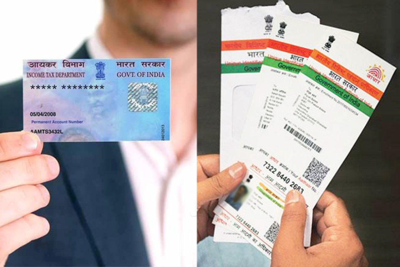 PAN Card (L) and Aadhaar Card (R)