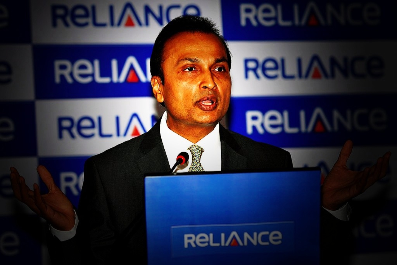 Anil Ambani addresses a press conference in Mumbai. Photo credit: SAJJAD HUSSAIN/AFP/GettyImages