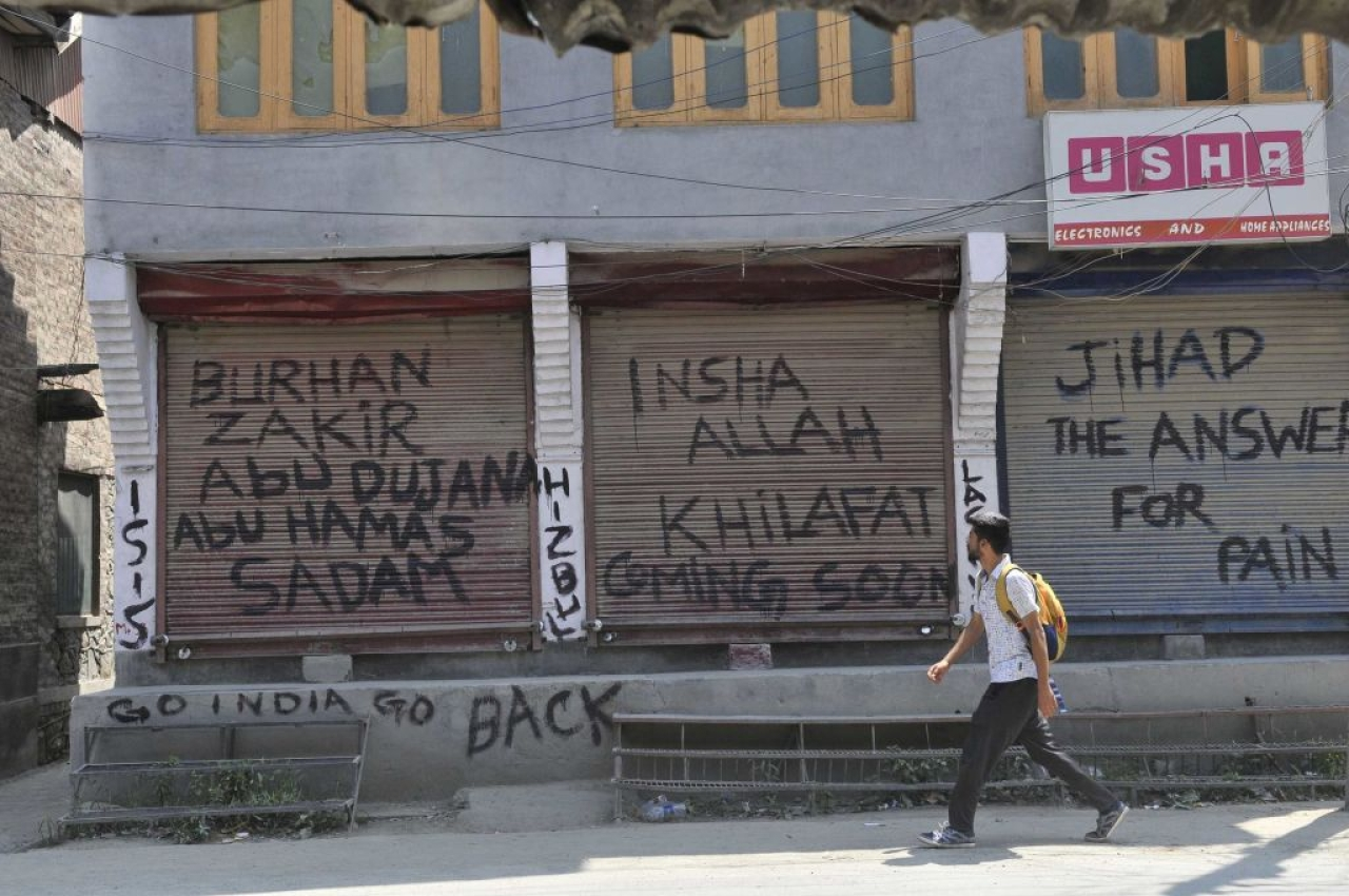 Terror slogans in Kashmir (Photo by Waseem Andrabi/Hindustan Times via Getty Images)