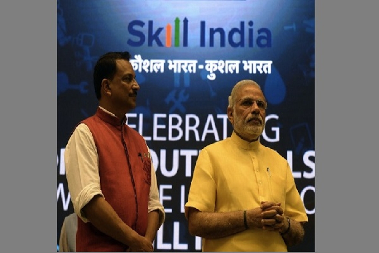 Prime Minister Narendra Modi (R) with Minister of State Skill Development & Entrepreneurship (Independent Charge) Rajiv Pratap Rudy during the launch of the 'Skill India' initiative in New Delhi on 15 July 2015. (PRAKASH SINGH/AFP/Getty Images)