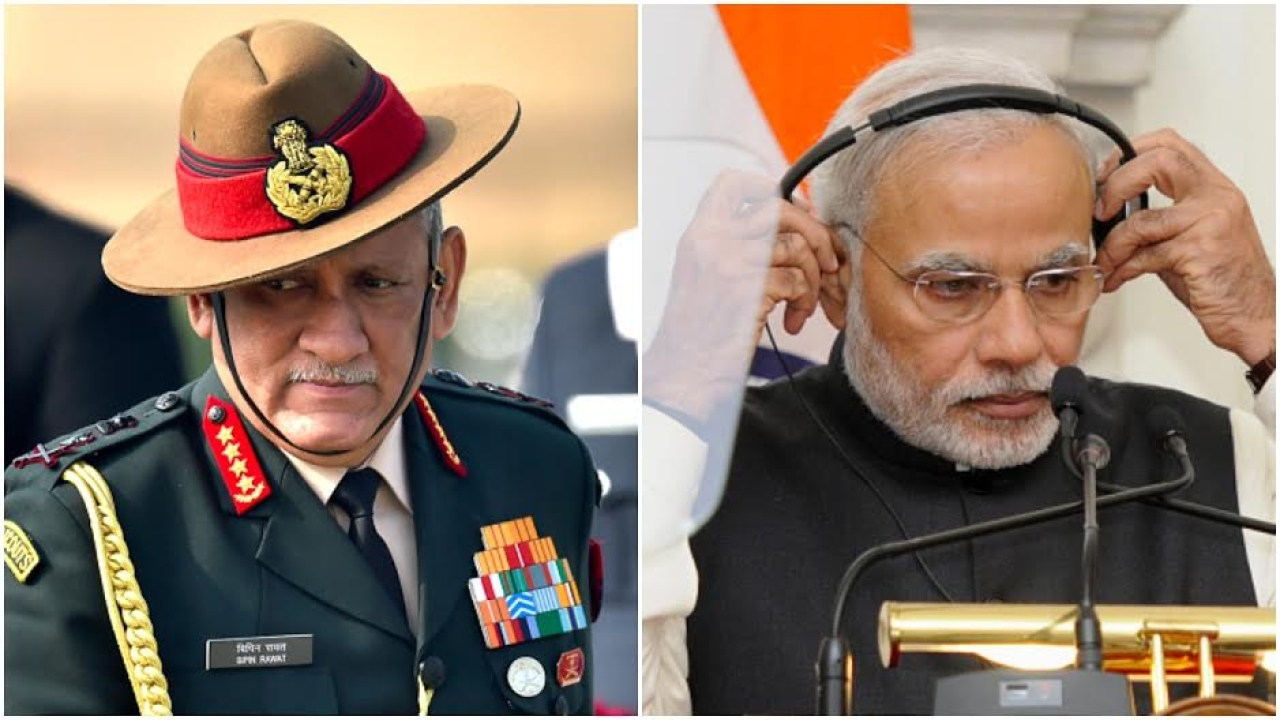 Indian Army Chief General Bipin Rawat and Prime Minister Narendra Modi