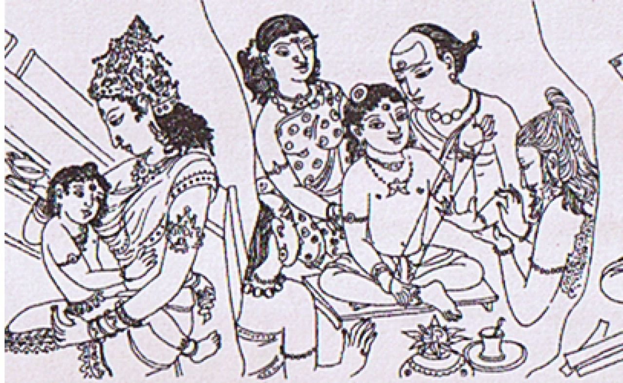 Events from the life of Thiru Gnana Sambandar: Parvati feeds infant Sambandar