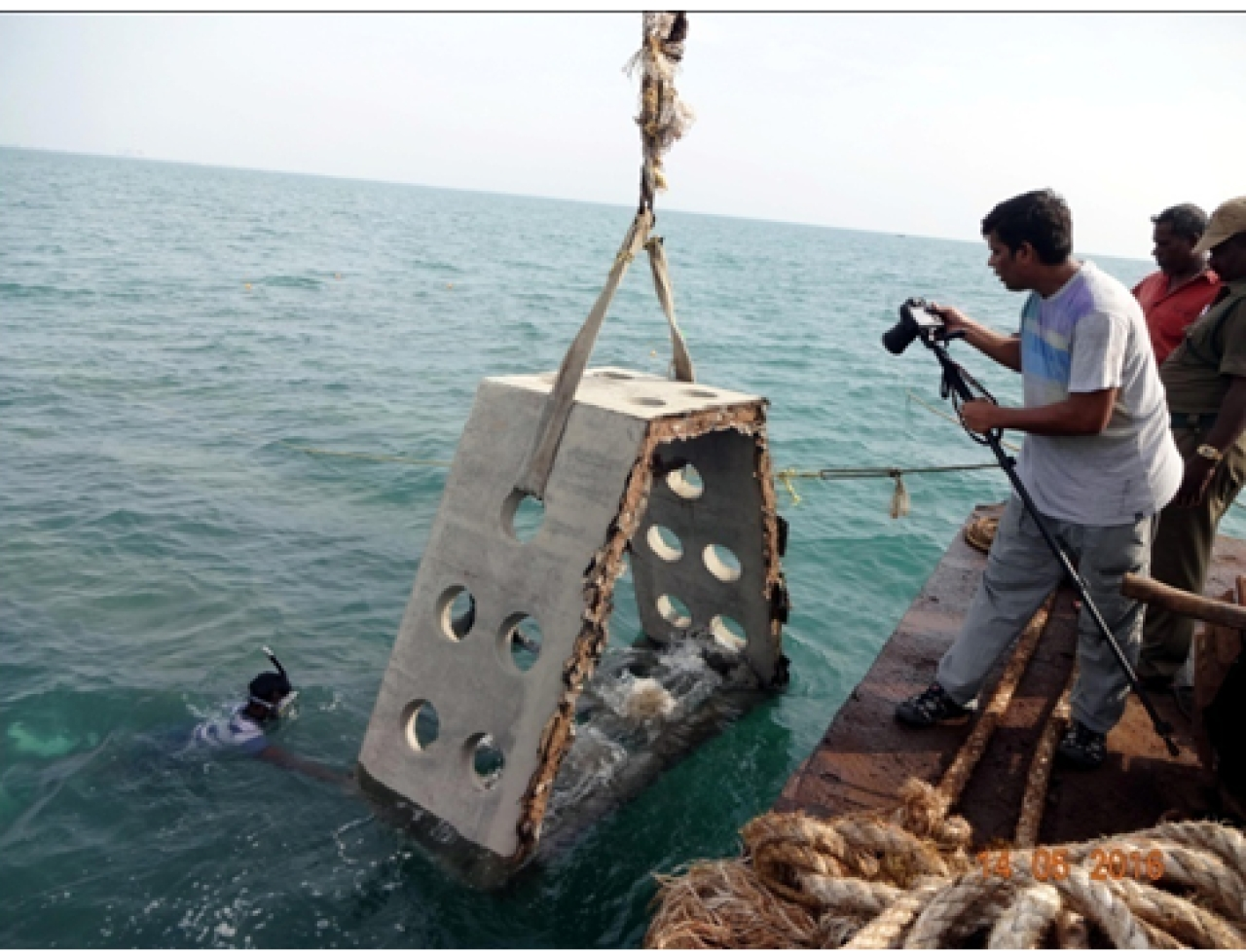 An artificial reef being deployed (India Science Wire)