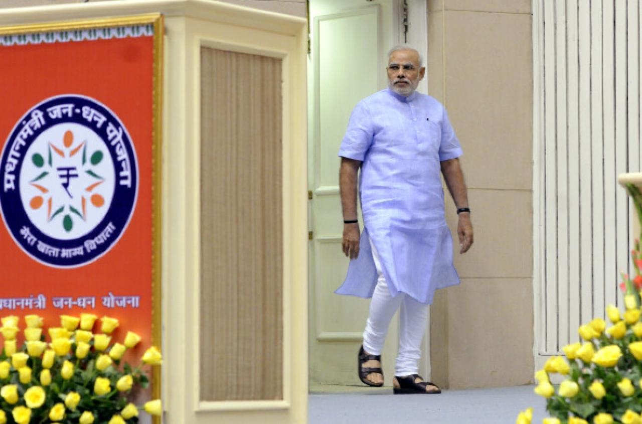 Prime Minister Narendra Mod arrives to launch the Pradhan Mantri Jan Dhan Yojna at Vigyan Bhawan in New Delhi. (Mohd Zakir/Hindustan Times via GettyImages)