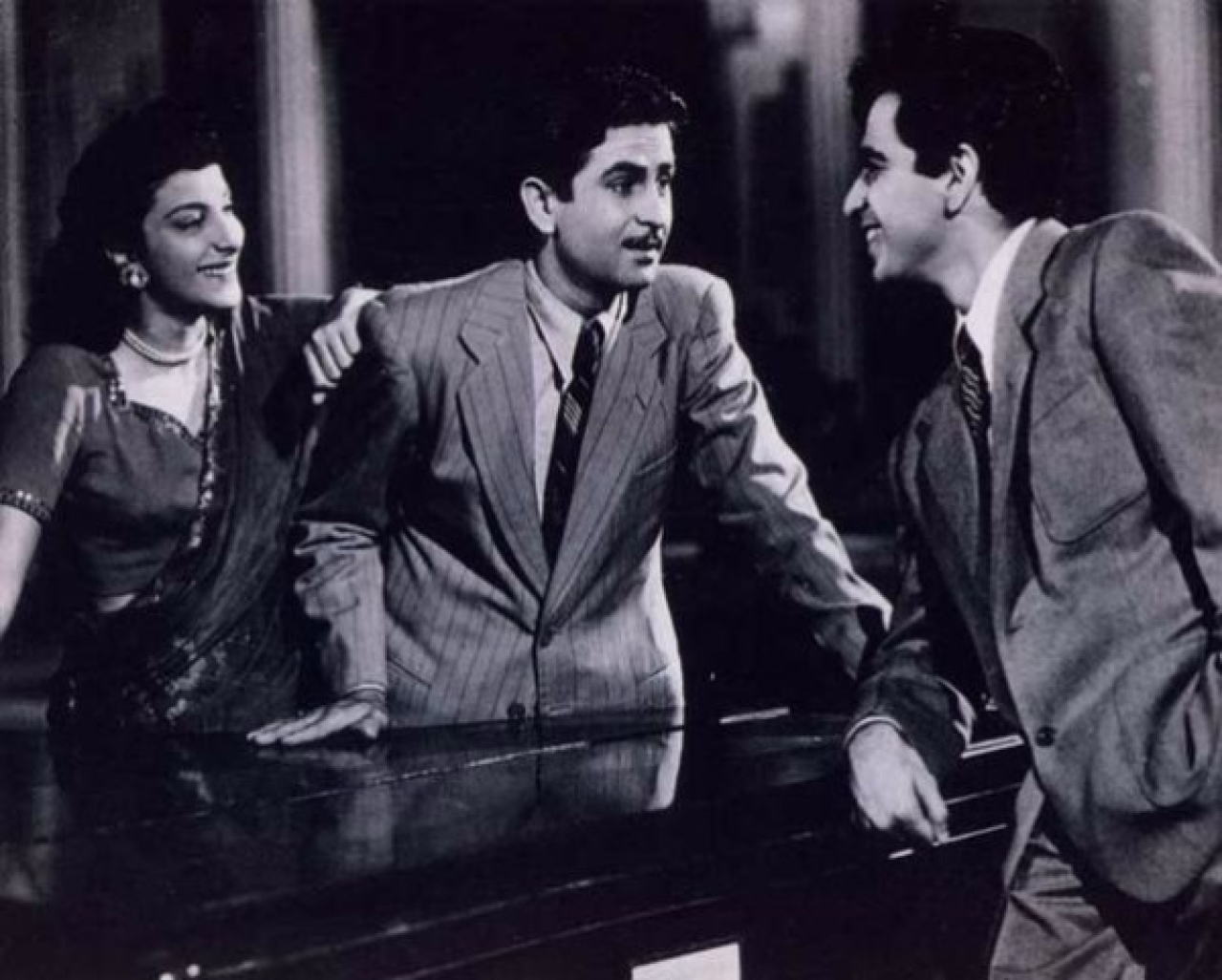 Nargis, Raj Kapoor and Dilip Kumar in a scene from <i>Andaz </i>(Mehboob Khan/Wikimedia Commons)