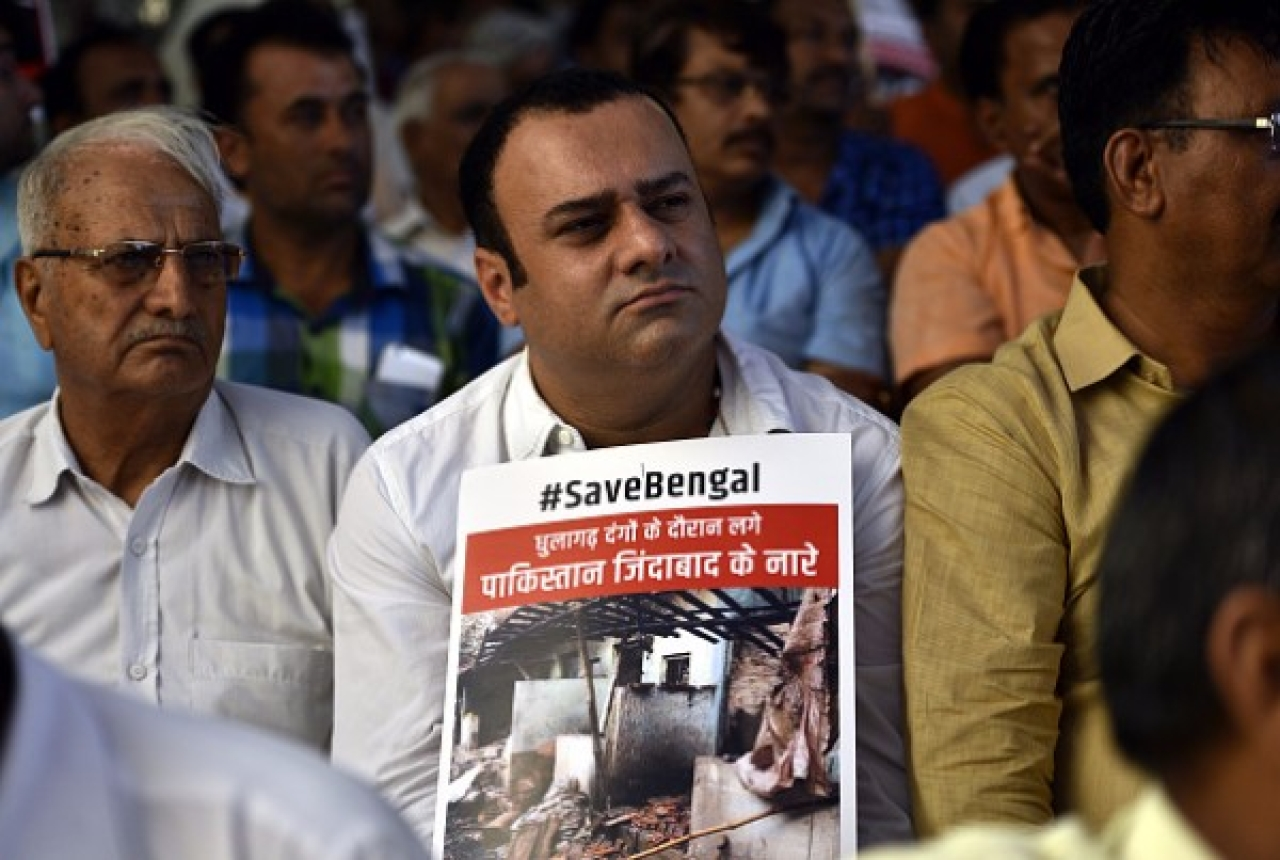 The BJP launched 'Save Bengal' protest against Mamata government at Rajghat in July, in New Delhi. (Arun Sharma/Hindustan Times via Getty Images)