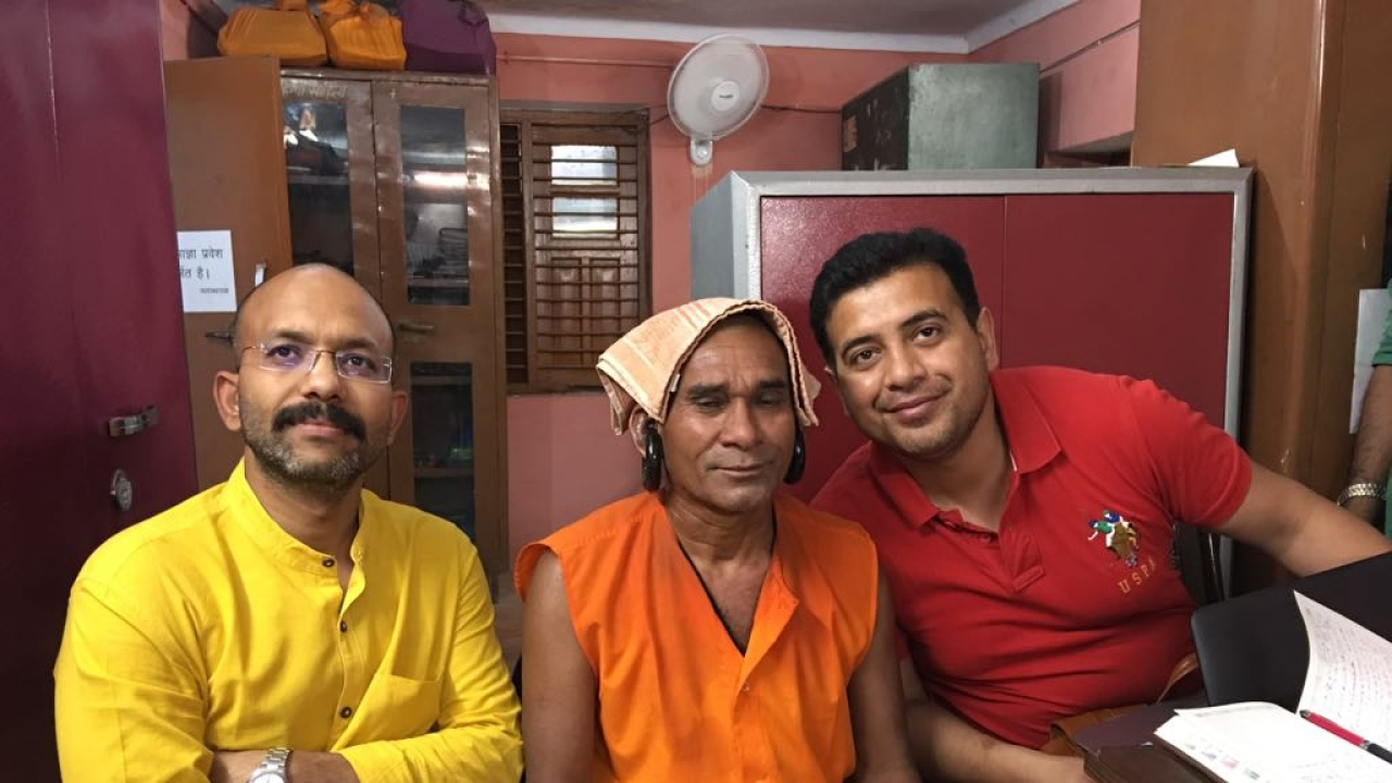 The author with Kanphate sadhu at Gorakhnath Mutt