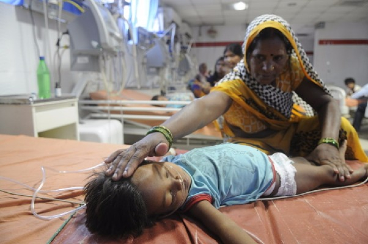 More than 60 children have reportedly died at the BRD Medical College Hospital and at least 30 deaths in two days. (Deepak Gupta/Hindustan Times via Getty Images)