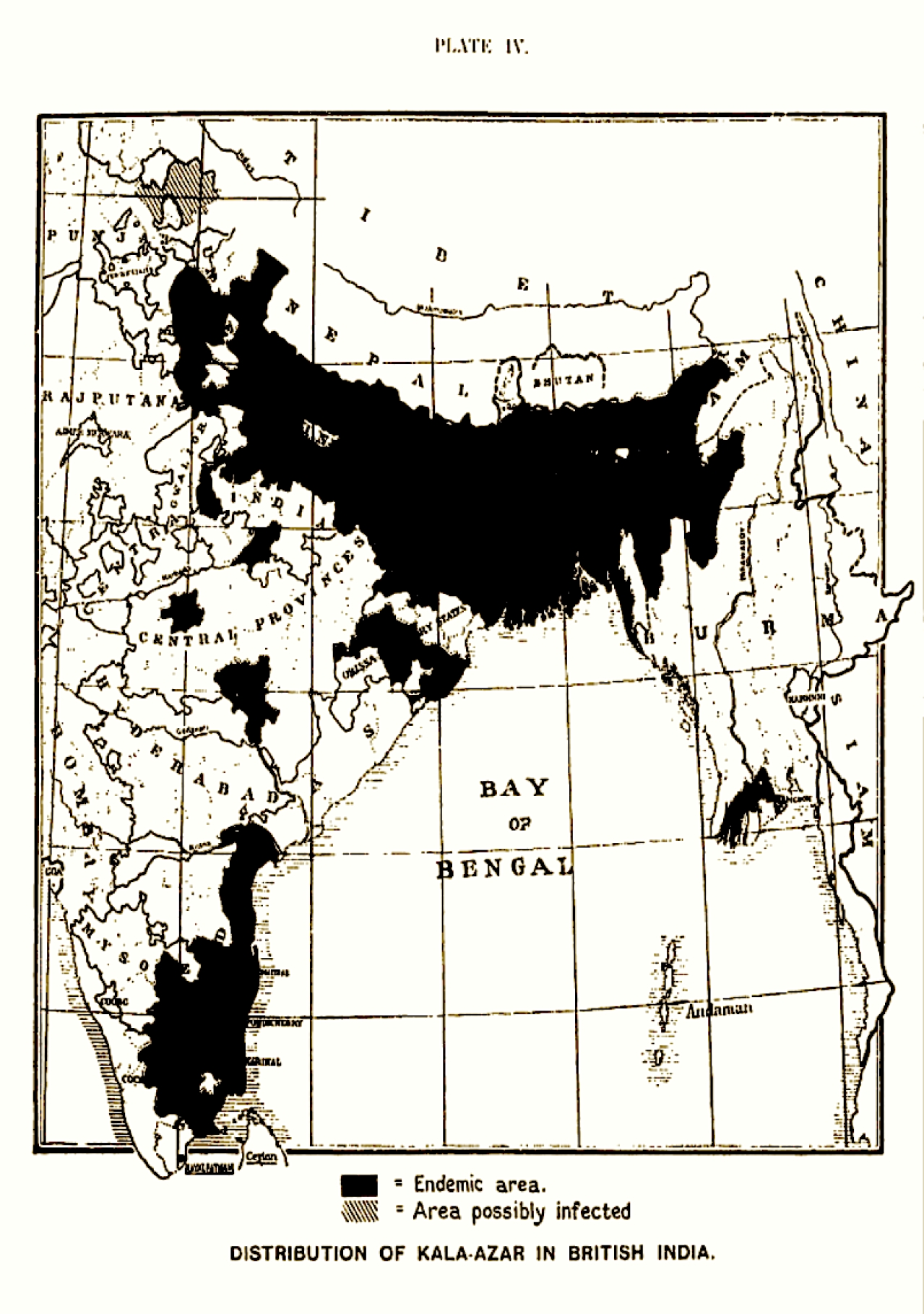 Figure 1. Distribution of kala-azar in British India (From 'A Treatise on Kala-azar', by Upendranath Brahmachari, John Bale, Sons and Danielson Limited, 1928)