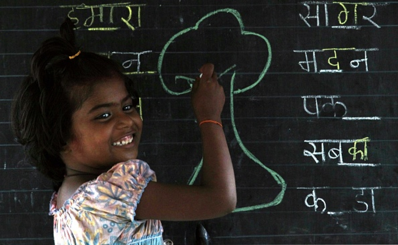 Representative image of a student in a Hindi class in Mumbai (Anshuman Poyrekar/Hindustan Times via Getty Images)
