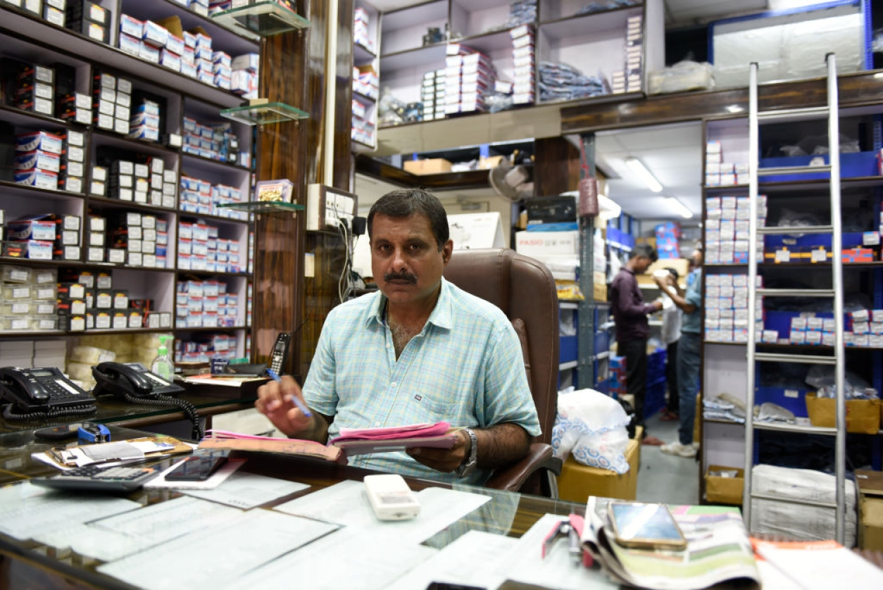Vinay Narang of Narang Motors filing GST returns. The tax regime has affected the auto parts dealers in New Delhi. (Saumya Khandelwal/Hindustan Times via GettyImages)