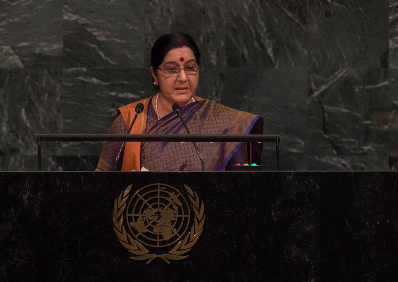 India External Affairs Minister Sushma Swaraj addresses the 72nd Session of the United Nations General Assembly at the UN headquarters in New York on 23 September 2017. (BRYAN R SMITH/AFP/GettyImages)