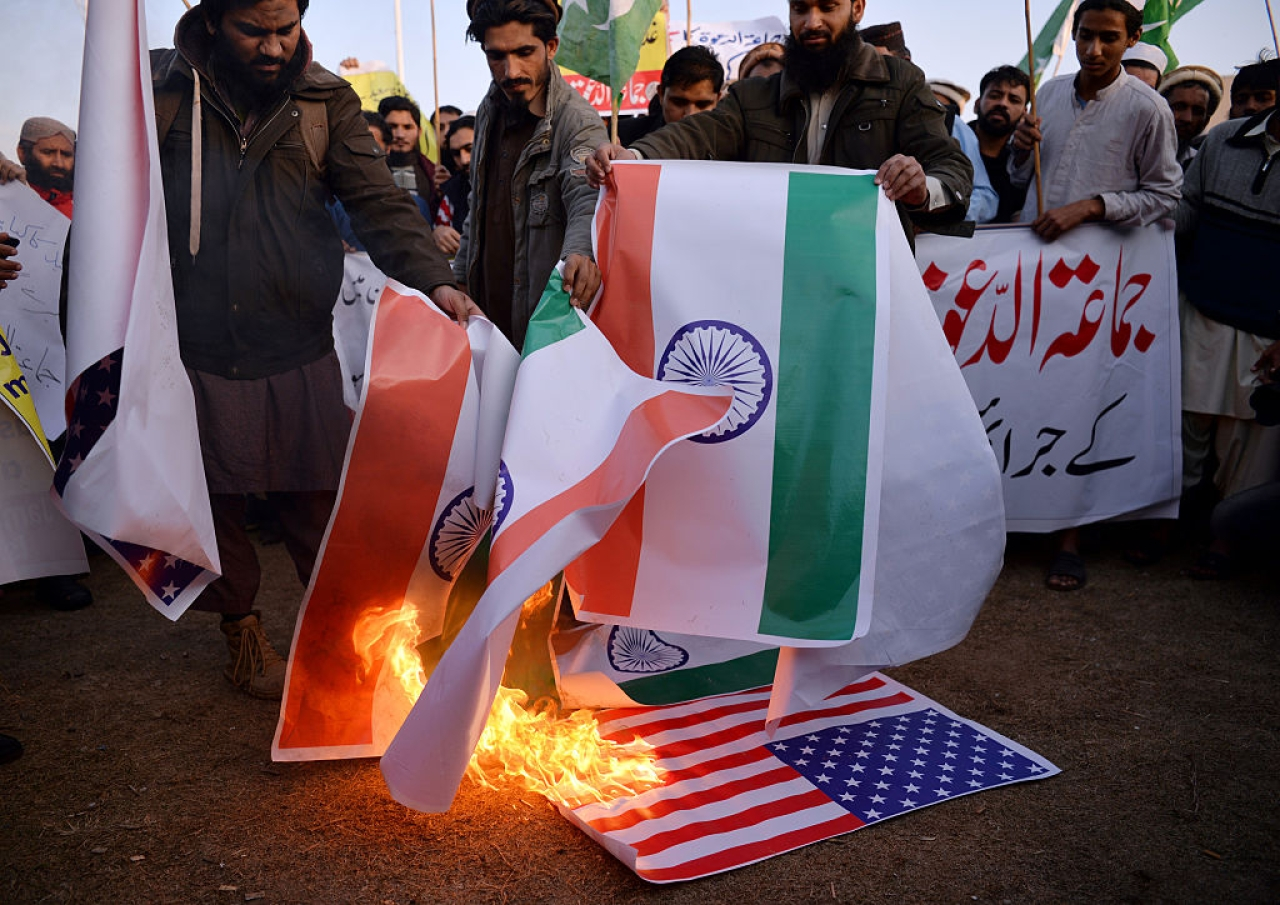 Pakistani supporters of the Jamaat-ud-Dawa organisation burn Indian  and US flags Islamabad. (AAMIR QURESHI/AFP/Getty Images)