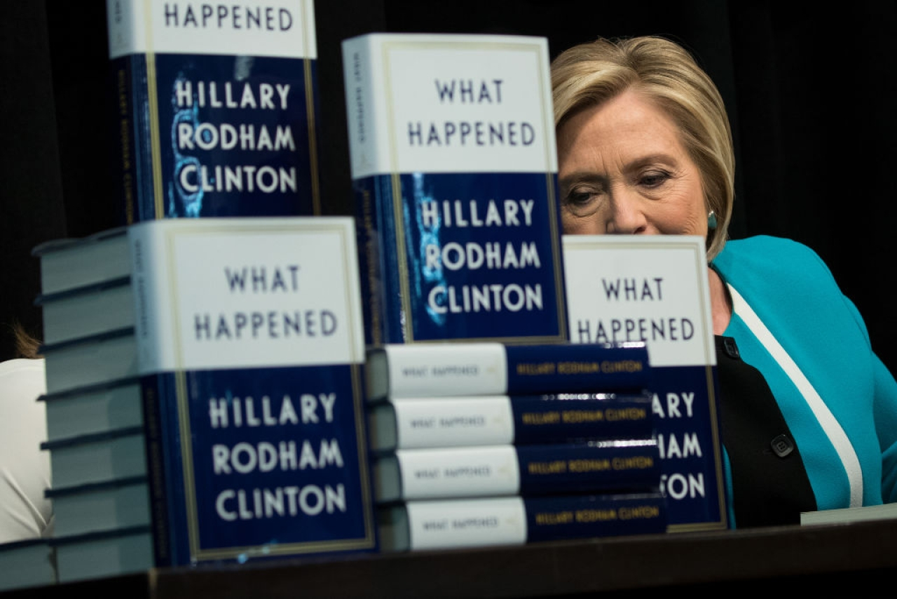 Former U.S. Secretary of State Hillary Clinton signs copies of her new book 'What Happened' during a book signing event at Barnes and Noble bookstore September 12, 2017 in New York City. Clinton's book, which focuses on her 2016 election loss to President Donald Trump, goes on sale today. (Drew Angerer/Getty Images)