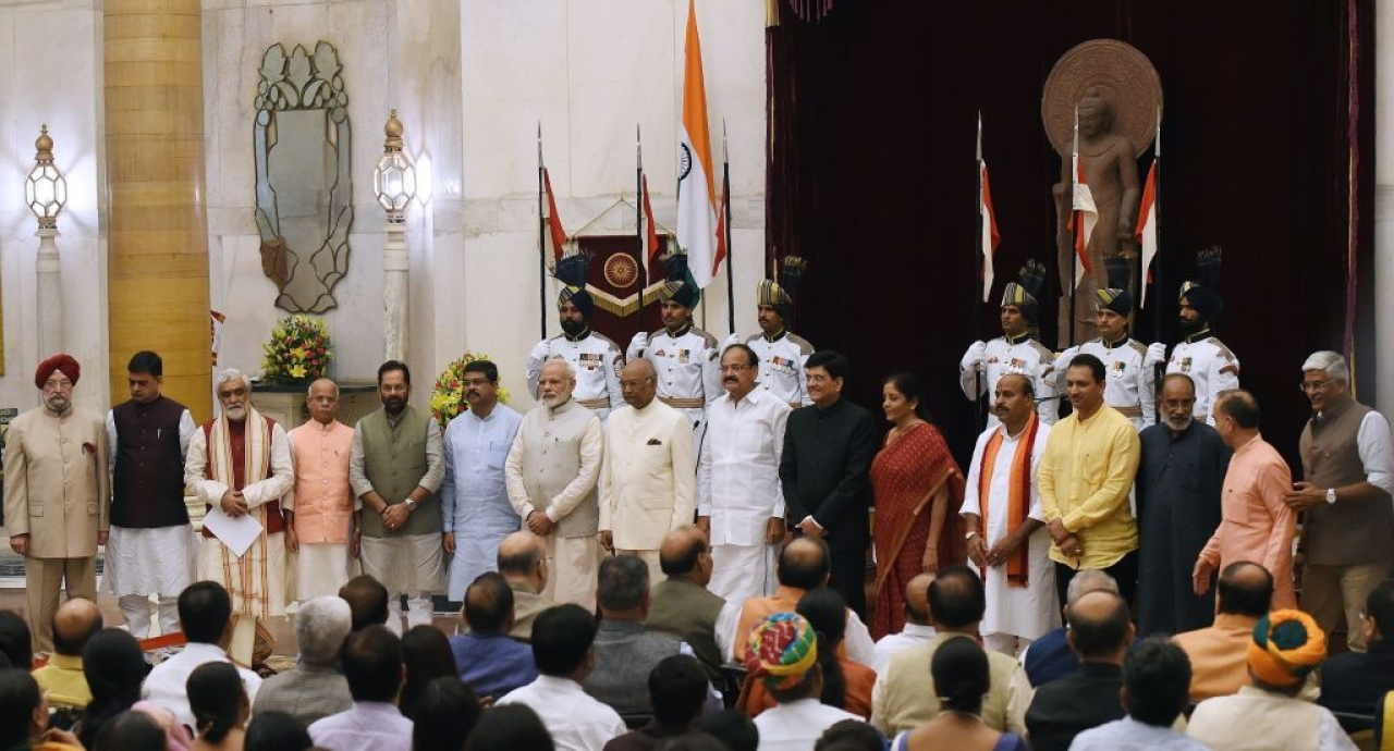 Modi with the new Cabinet. (GettyImages)