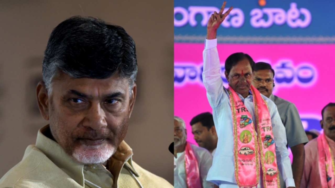 Andhra Pradesh Chief Minister N Chandrababu Naidu and his Telangana counterpart K Chandrashekhar Rao