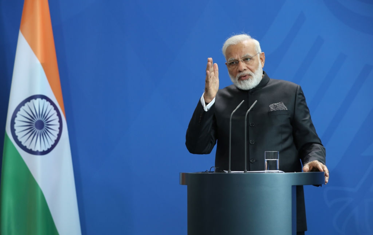 Prime Minister Narendra Modi and German Chancellor Angela Merkel (not pictured) speak at a press conference following a signing ceremony of agreements between the German and Indian governments at the Chancellery on May 30, 2017 in Berlin, Germany. (Sean Gallup/Getty Images)