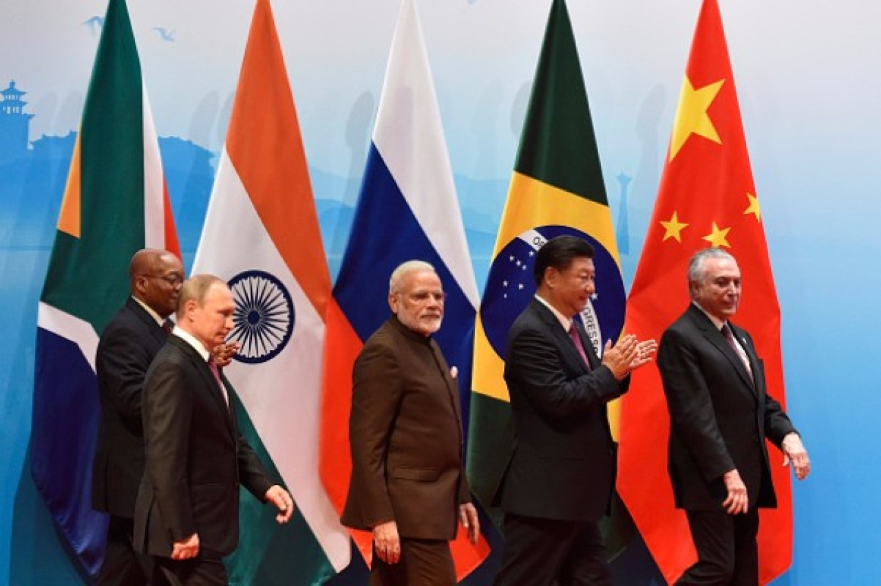 Prime Minister Narendra Modi with other world leaders at the BRICS Summit in Xiamen, 2017. (KENZABURO FUKUHARA/AFP/Getty Images)