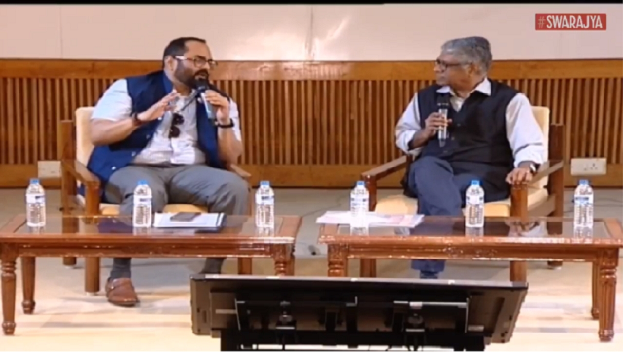 Rajeev Chandrasekhar and R Jagannathan in conversation at Swarajya Cityscapes, 2017