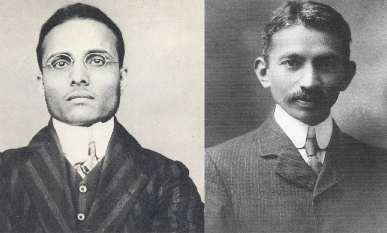 Savarkar and Gandhi, right