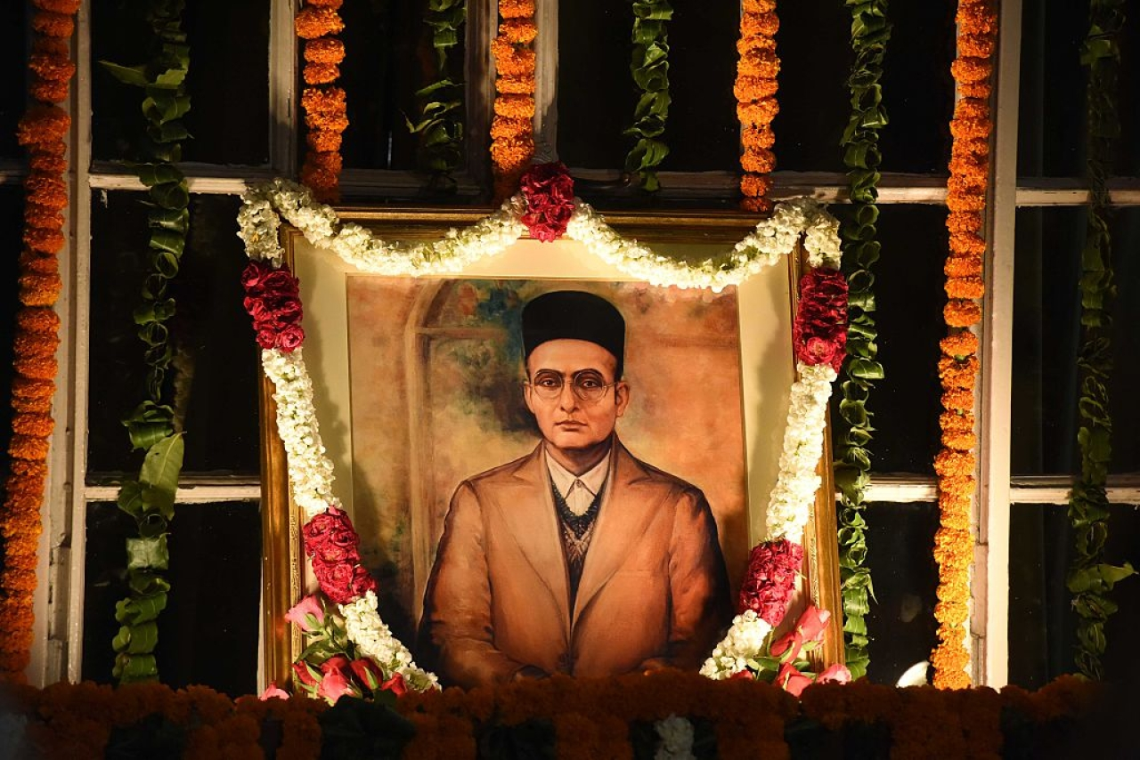 The portrait of Savarkar at the Central Hall of Parliament in New Delhi. (Sonu Mehta/HindustanTimes via GettyImages)
