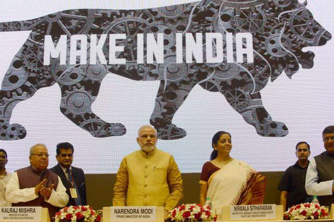 Nirmala Sitharaman with Prime Minister Narendra Modi ... Make in India programme taking off