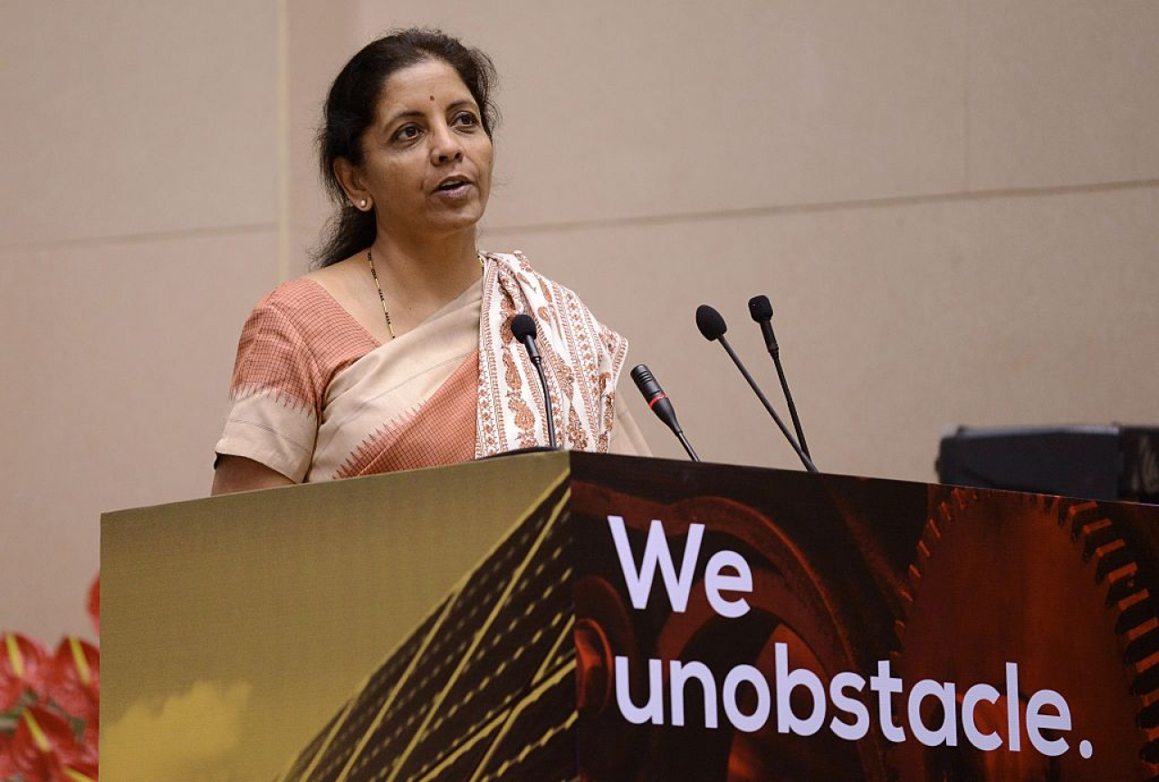 Defence Minister Nirmala Sitharaman speaking at an event in New Delhi. (MONEY SHARMA/AFP/Getty Images)