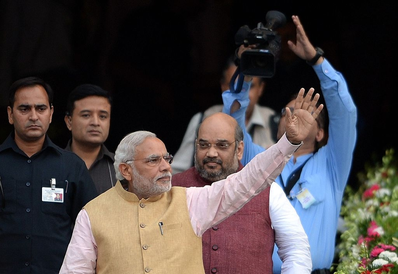 Prime Minister Narendra Modi and BJP president Amit Shah at a party event in Mumbai. (PUNIT PARANJPE/AFP/Getty Images)