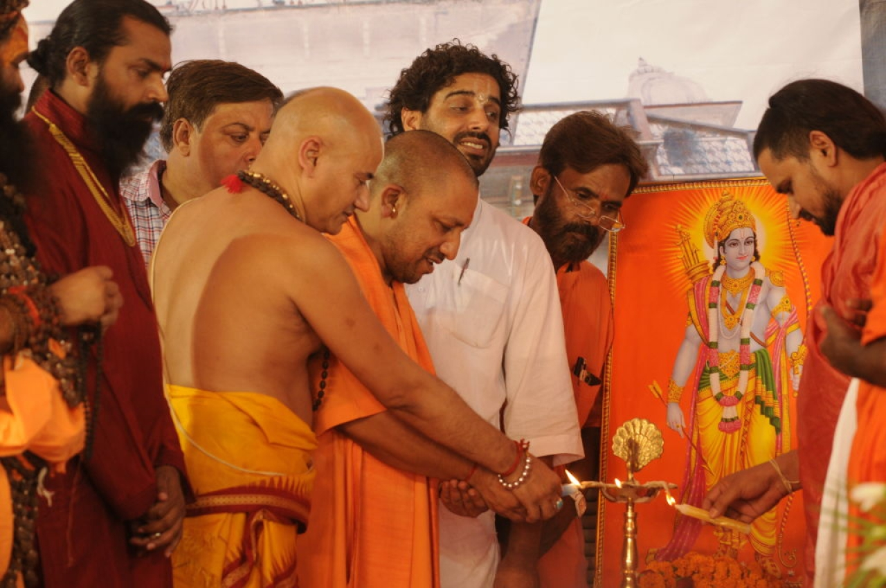 Uttar Pradesh Chief Minister Yogi Adityanath during the 79th birthday function of Mahant Nritya Gopal Das on May 31, 2017 in Ayodhya, India. (Deepak Gupta/Hindustan Times via Getty Images)