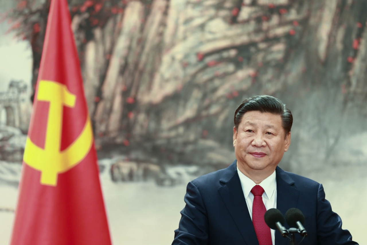 Chinese President Xi Jinping speaks during the unveiling of the Communist Party's new Politburo Standing Committee at the Great Hall of the People on 25 October 2017 in Beijing, China. (Lintao Zhang/Getty Images)