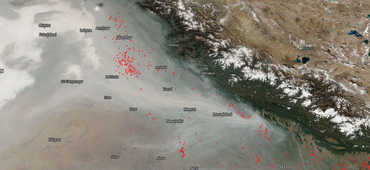 Fires around Delhi (NASA Earth Observing System Data and Information System (EOSDIS)