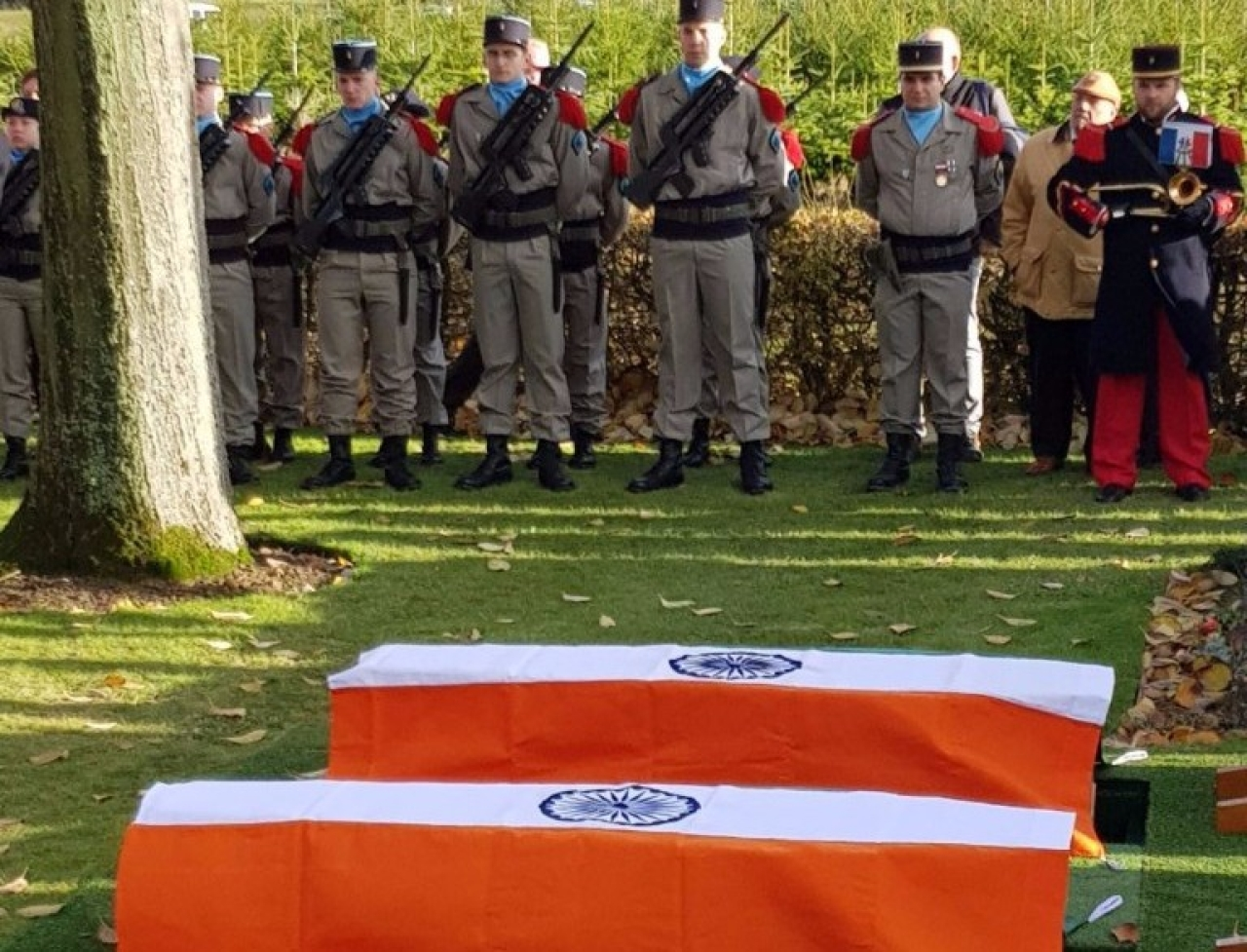 Coffins of the two brave heart martyrs of 39 Garhwal Rifles at the French war cemetery.