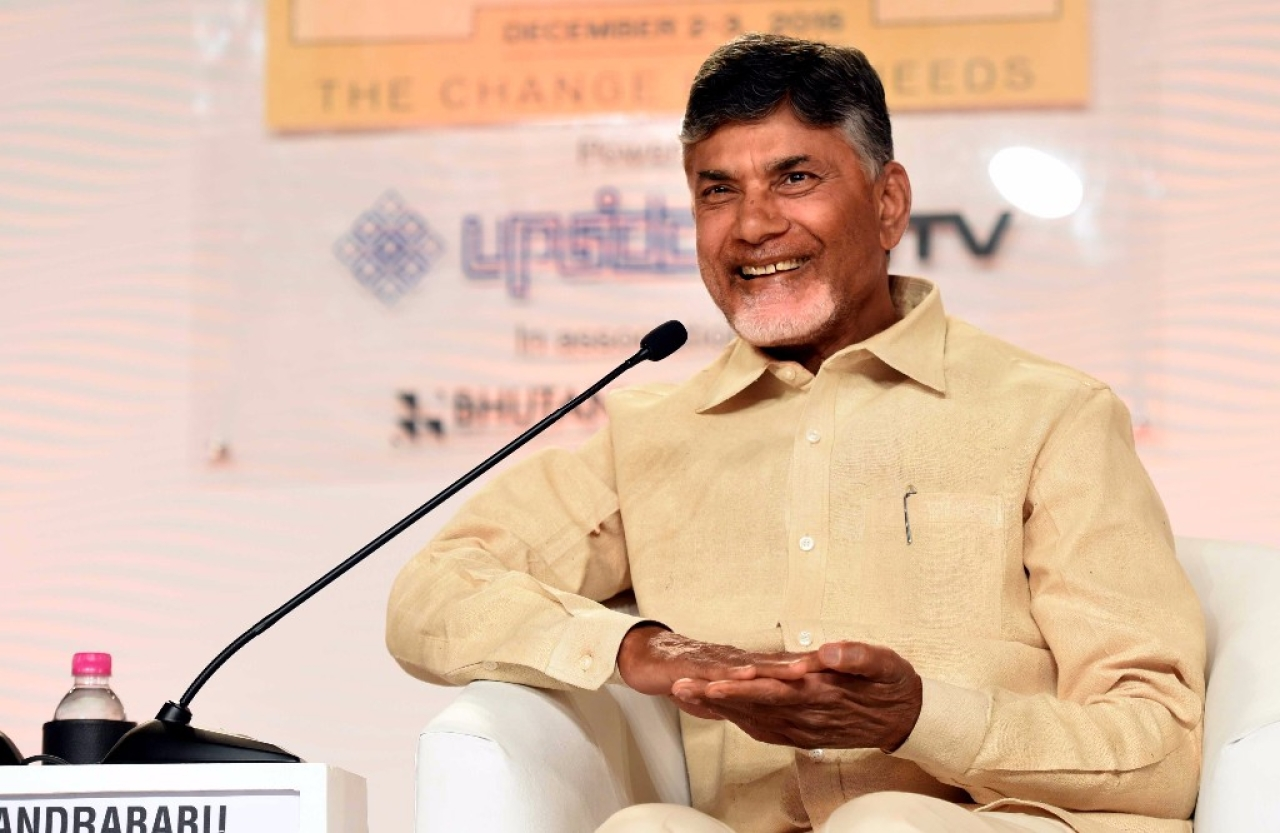 Andhra Pradesh Chief Minister N. Chandrababu Naidu. (Arun Sharma/Hindustan Times via Getty Images)