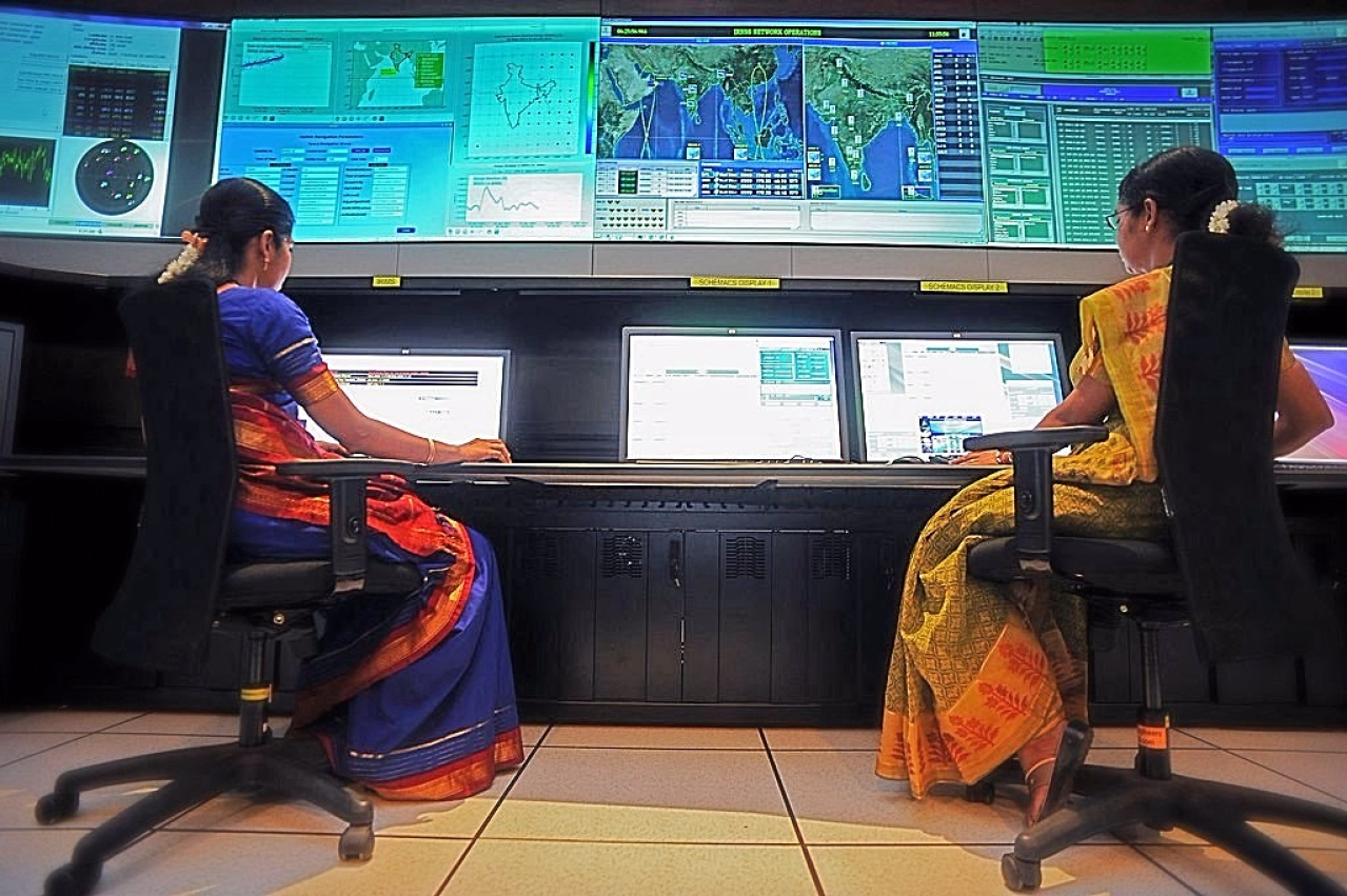 Scientists from the Indian Space Research Organisation (ISRO) (Manjunath Kiran/AFP/Getty Images)