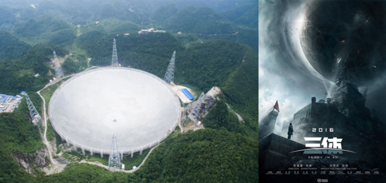 Science fiction meets reality: (Left) World's largest radio telescope built by China (right) Movie poster of Liu Cixin's science fiction.