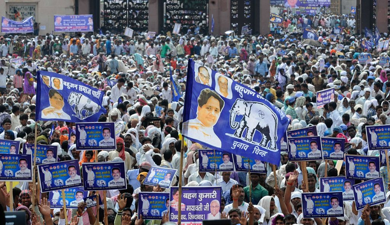 Bahujan Samaj Party supporters during a rally in Lucknow. (Deepak Gupta/Hindustan Times via Getty Images)