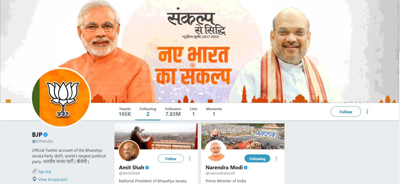 BJP on Twitter follows only two persons