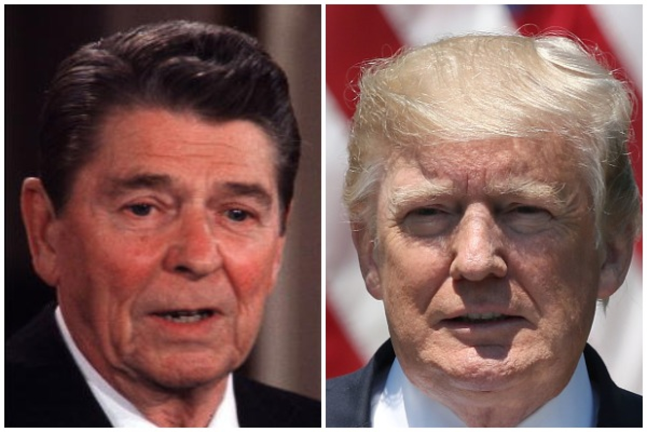 Former US president Ronald Reagan (White House/Getty Images)/US President Donald Trump (Mark Wilson/Getty Images)