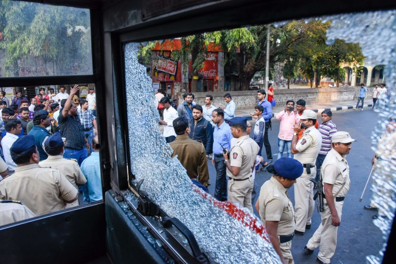 Violent protests erupted in several parts of Mumbai and Thane, with protesters damaging buses, blocking roads, staging rail rokos and forcing shops to shut down (Sanket Wankhade/Hindustan Times via Getty Images)
