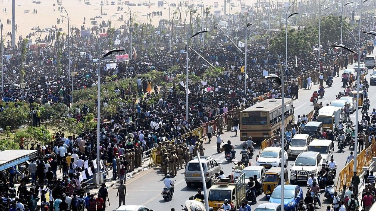 Protesters gather during a demonstration against the ban on jallikattu and calling for a ban on animal rights orgnisation PETA, at Marina Beach in Chennai. (ARUN SANKAR/AFP/GettyImages)