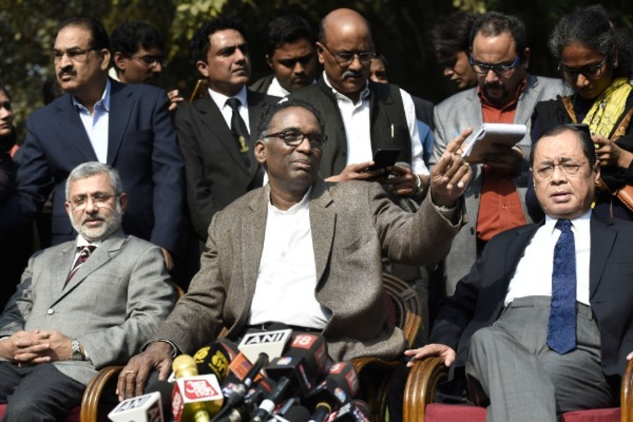 Supreme Court Judges Kurian Joseph, J Chelameswar, Ranjan Gogoi addressing the media in New Delhi. (Arvind Yadav/Hindustan Times via Getty Images)