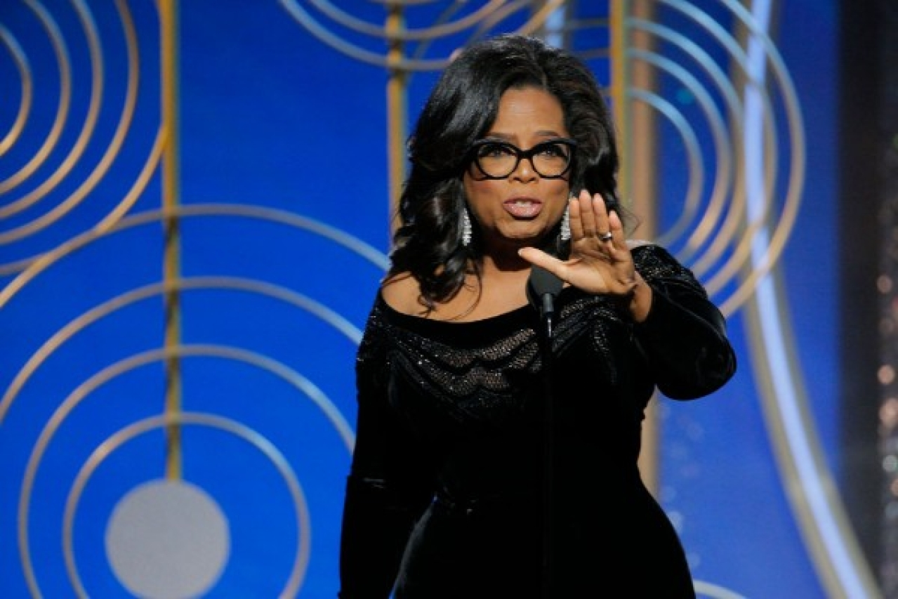 Oprah Winfrey accepts the 2018 Cecil B DeMille Award and speaks onstage during the 75th Annual Golden Globe Awards at The Beverly Hilton Hotel on 7 January 2018 in Beverly Hills, California.
