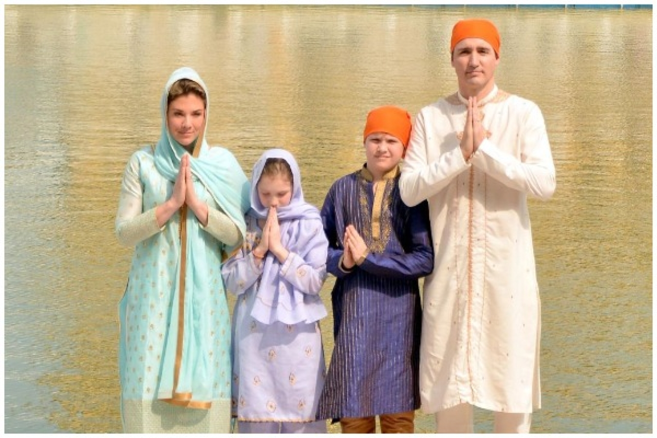 Canadian Prime Minister Justin Trudeau with his family at the Golden Temple in Amritsar (Sameer Sehgal/Hindustan Times via Getty Images)