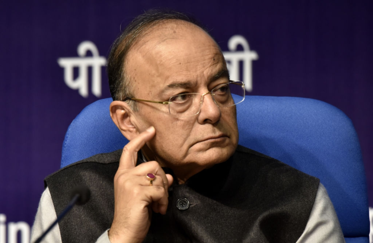 Union Finance Minister Arun Jaitley addresses a post budget press conference in New Delhi. (Mohd Zakir/Hindustan Times via GettyImages)