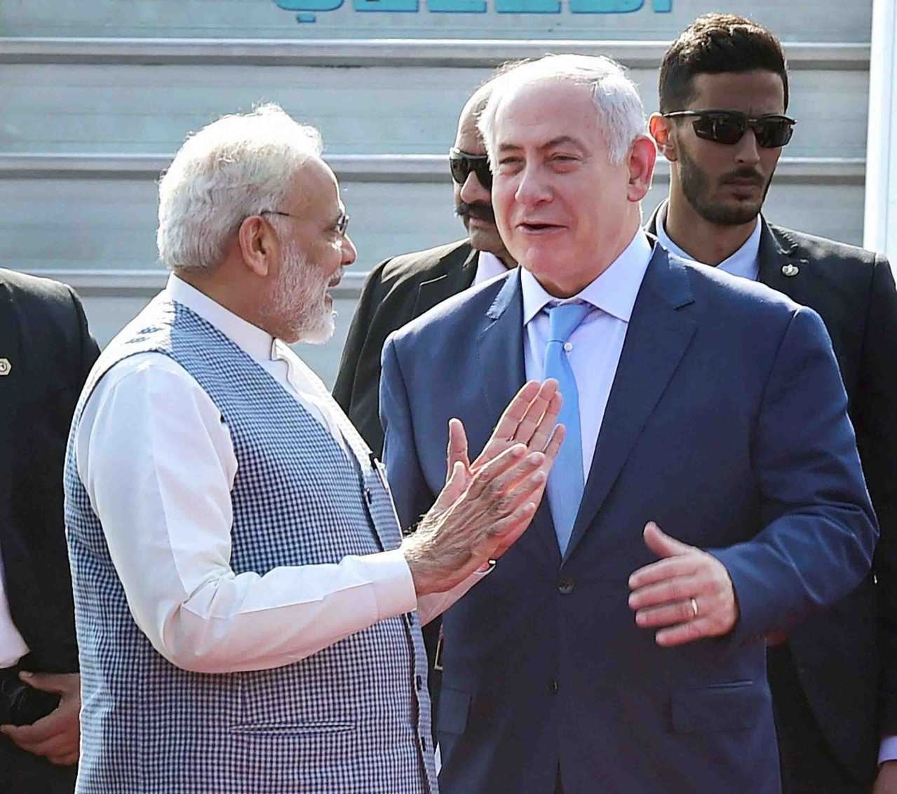 Prime Minister receiving his Israeli counterpart at the Indira Gandhi International Airport.