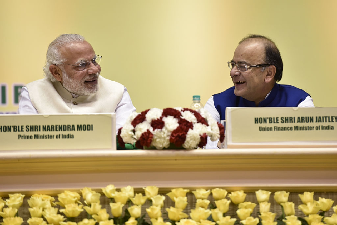 Prime Minister Narendra Modi with Finance Minister Arun Jaitley at a  conference in New Delhi.  (Virendra Singh Gosain/Hindustan Times via Getty Images)